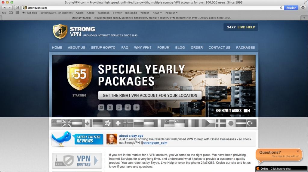 A screen shot of the StrongVPN Website