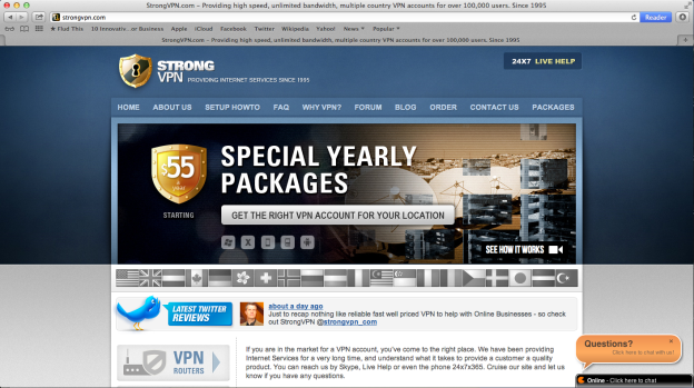 A screen shot of the StrongVPN Website